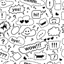 Seamless Pattern With Speech Bubbles And Dialog Words: Hi, Yes, Bye, Wow, Mmm. The Pattern Includes An Exclamation Mark, A Question Mark, A Heart, A Cat And A Dog. Doodle Style On A White Background.