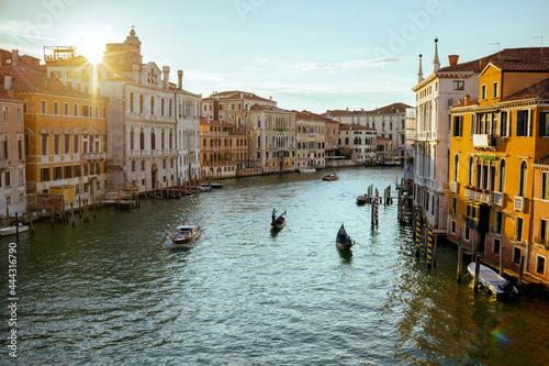 Obraz na plátně landscape with gondola, motorboat and grand canal