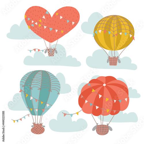 Obraz na plátně Vintage hot air balloon festival card