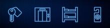 Set Line Hotel Room Bed, Door Lock Key, Lift And Please Not Disturb. Glowing Neon Icon On Brick Wall. Vector