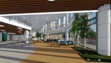 Lobby Con Doble Altura Ambientado Con Plantas De Bambú Mezanine , Techo En Laminas De Madera Y Muros Cortina