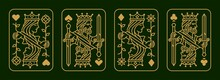 Custom Gold King And Queen Playing Card Deck Vector Illustration Set Of Hearts, Spade, Diamond And Club, Royal Cards Design Collection