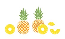 Pineapple Logo. Isolated Pineapple On White Background