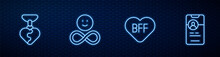 Set Line BFF Or Best Friends Forever, Necklace With Heart Shaped, Friends And Dating App Online. Glowing Neon Icon On Brick Wall. Vector