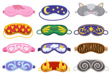 Sleep Masks Different Shapes. Eye Protection Accessories And Prevention Of Healthy Sleep. Blindfold Symbols In Cartoon Style. Design Elements Collection
