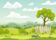 Spring Landscape With Green Grass, Hills, Blue Sky With Clouds And Farm Implements. Nature Countryside Background In Flat Cartoon Style. Beautiful Banner With Field And Tree