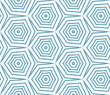 Arabesque Hand Drawn Pattern. Blue Symmetrical