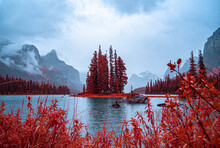 Otherworldly Beautiful Red Island In The Misty Mountains, Shot In Infrared
