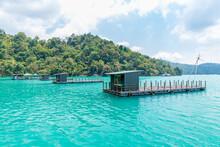 Wooden Boat Huts On Sun Moon Lake