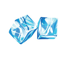 Water Ice Cube Icon. Frozen Water Particles. Set Of Translucent Ice Cubes In Blue Colors. Realistic Blue Solid Water
