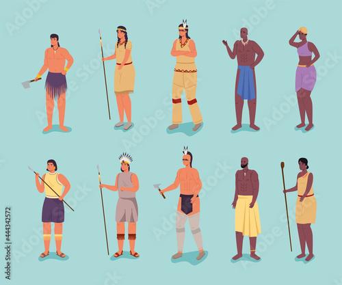 Photo ten aborigines characters