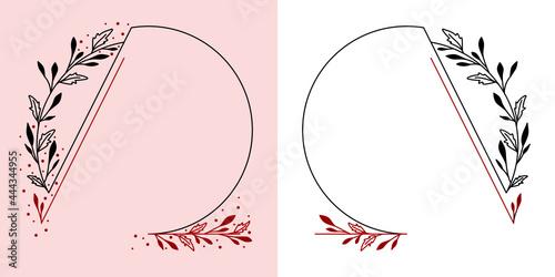 Okrągłe ramki z wzorem roślinnym w prostym minimalistycznym stylu. Szablony z listkami i czerwonym akcentem - zaproszenia ślubne, życzenia, walentynka, planer, tło dla social media stories.
