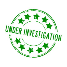 Grunge Green Under Investigation Word With Star Icon Rubber Seal Stamp On White Background