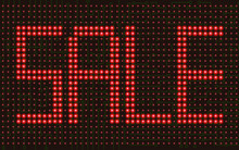 Red Sale Led Text On The Electric  Circuit Panel