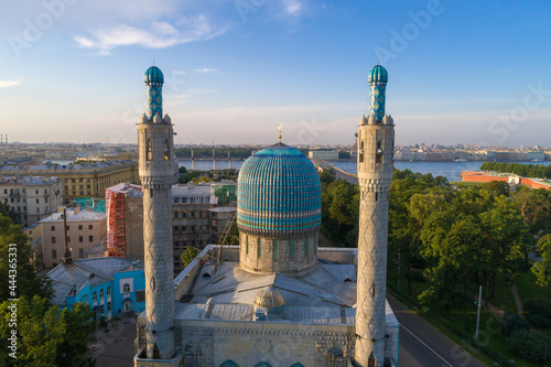 Fotografie, Obraz The minarets and dome of the cathedral mosque close-up on a sunny July morning
