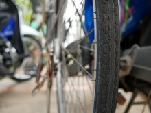 Closeup Of Old Bicycle Tires Texture.