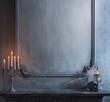 Leinwandbild Motiv Mystical Halloween still-life background. Skull, candlestick with candles, old fireplace. Horror and witchery.