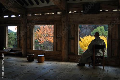 Autumn mountain temple
