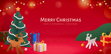 Red Xmas Banner In Paper Cut Style