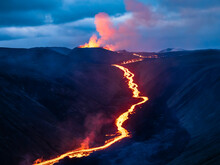 Glowing River Of Magma From Fagradalsfjall Volcanic Eruption At Geldingadalir, Iceland