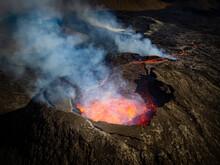 Air Photo Of Fagradalsfjall Crater, Volcanic Eruption At Geldingadalir, Iceland