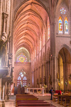 View Of The Interior Of The Central Nave In Basilica Of The National Vow, In Quito (Ecuador), A Roman Catholic Neo-gothic Cathedral Located In The Historic Center Of The Capital.