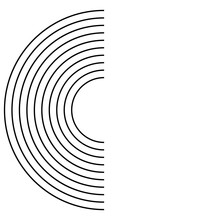 Semicircle. Black Few Semicircle As Circles On The Water Diverge Or Goal. Vector Illustration