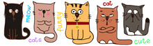 Cute Funny Cats, Contour Colored Cartoon Drawing By Hand, Doodles, Stickers, Isolated On A White Background