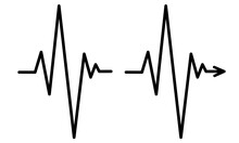 A Simple Cardiogram Icon With An Arrow. Hand Drawn Heartbeat Line. Vector Illustration Of Medical Electrocardiogram, Heart Rhytm, ECG. Black Line Isolated On A White Background.