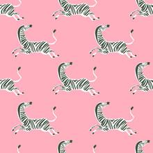 Retro Neon Color Zebra Illustration Motif Seamless Repeat Pattern Digital File Artwork Home Decor Print Fashion Fabric Textile Pop Art