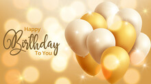 Colorful Birthday Background With Balloons