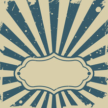 Sunlight Retro Faded Background With Vintage Frame For Text. Blue And Beige Color Burst Background.