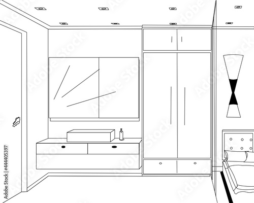 Tela new style bedroom interior design with wardrobe and dressing table