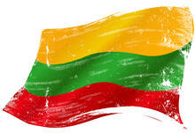 Flag Of Lithuania In The Wind With A Texture