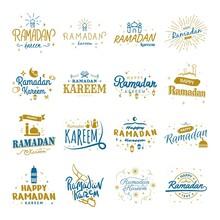 Ramadan Kareem Vector Template Collection. Happy Eid Mubarak Typography 12