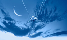 """The Girl Riding A Swing On The Space On A Crescent Moon At Night """"Elements Of This Image Furnished By NASA"""""""