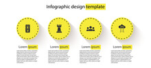Set Light Bulb With Dollar On Mobile, Chess, Users Group And Stair Finish Flag. Business Infographic Template. Vector