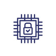 Hardware encryption line icon with chipset