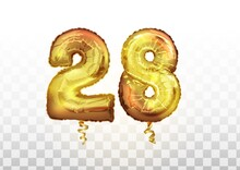 Vector Golden Number 28 Twenty Eight Metallic Balloon. Party Decoration Golden Balloons. Anniversary Sign For Happy Holiday, Celebration, Birthday, Carnival