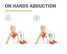 Girl Doing On Hands Hips And Knees Abductions Home Workout Exercise With Resistance Band