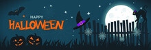 Halloween Banner Concept With Full Moon In The Night Sky, Spider Web, Scary Pumpkin, Black Cat On The Fence And Bat. Halloween Background. Happy Halloween Text. Vector Flat Design Illustration