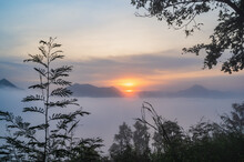 Beautiful Sunrise With Sea Of Fog In The Early Moring At Phu Thok Chiang Khan District Leoi City Thailand.