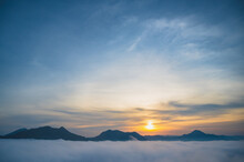 Beautiful Sunrise With Sea Of Fog In The Early Moring At Phu Thok Chiang Khan District Leoi City Thailand.Chiang Khan Is An Old Town And A Very Popular Destination For Thai Tourists