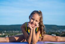 Teen Girl Wear Sportswear For Training Stretching On Sky Background, Split