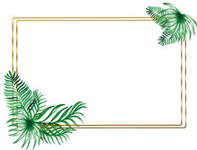 Watercolor Gold Frames Made Of Tropical, Palm Leaves. Tropical Decor . Postcard Wedding Design. Green Summer Leaves. Monstera, Palms ,leaves.