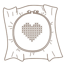 Embroidery On The Hoop. A Heart Embroidered With A Cross. Needlework. Design Element With Outline. Doodle, Hand-drawn. Black White Vector Illustration. Isolated On A White Background
