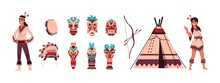 Cartoon Indians. Aztec Or Maya Persons. Man Or Woman With Ritual Shaman Tiki Mask, Feather Headwear And Totem. Tribal Collection. Drum And Bow With Arrows. Vector Traditional Wigwam