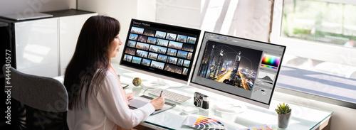 Professional Graphic Designer Woman Working