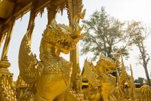 Golden Mixed Elephant Lion At Wat Paknam Jolo