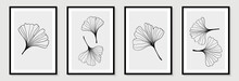 Set Of Creative Minimalist Hand Draw Illustrations Floral Outline Ginkgo Biloba Leaves Linear Black And White Background. For Wall Decoration, Postcard Or Brochure Cover Design